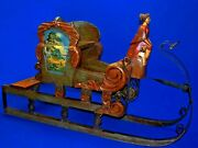 Antique 1900s Austrian German Hand Carved Painted Wood Figure Iron Sleigh Sled