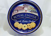 Empty Tin Royal Dansk Danish Butter Cookie Round Container 12 Oz. Reusable