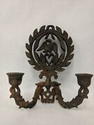 Vintage Cast Iron Metal Wall Sconce Candle Stick Holder Eagle Wreath Leaves