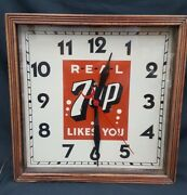 Vintage Large Real 7 Up Likes You Square Electric Wall Clock Wood Trim Exterior
