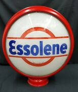 Essolene Original Double Faced Glass And Reproduction Metal Case Gas Pump Sign