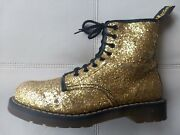 Doc Dr Martens Gold Sequin Glitter Boots Rare Vintage Made In England 6uk Us W8