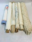 Lot Of 7 Dresser Scarves / Runners Doilies Embroidered Lace Linen Muslin New