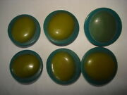 Art Deco 6 Round Egg/green Carved Buttons Vintage
