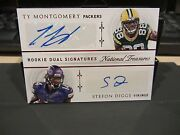 National Treasures Dual Autograph Vikings Diggs Packersty Montgomery 11/25 2015