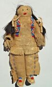 Plains Indian Buckskin Beaded Horsehair Doll Sioux Native Late 1800s Antique
