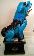 Antique Chinese Large Colored Glaze Ceramic Fenshui Foo Dogs Statue Sculpture