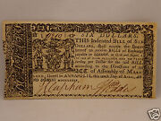 Fine 242 Year Old Colonial Currency Note 6 April 10, 1774 - Maryland