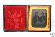 Exceptional Tintype Photograph Father And Son Civil War Union Soldiers W/us Flag