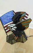 Dale Stained Glass Bald Eagle And American Flag Spirit Accent Lamp / Light