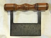 Antique Signed By Maker Cast Steel Food Chopper Elaborate Turned Wood Handle