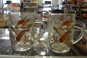 Vintage Coca-cola Mallard Duck Clear Glass Stein Mug Coffee Glass Mugs Set Of 4