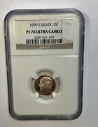 1999 S Silver 10c Dime Ngc Pf70 Ultra Cameo Brown Label - Ships Fast