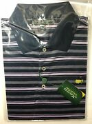 Masters Collection Blue Purple Grey Striped Golf Polo Shirt Large L Augusta