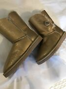 New Uggs Short Boots Patent Leather Light Gold Size 7