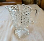 Vintage Cut Glass Pitcher 6 Tall Geometric Knobbly Design Footed