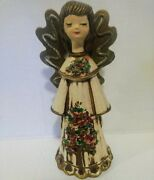 Vtg Angel Paper Mache Plaster Wooden Gold Wings Painted Tree Christmas Statue