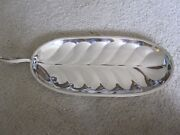 Fb Rogers Silver Co Oval Leaf Pattern Silver 16 Serving Platter/tray W- Handle