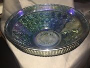 Vintage Indiana Blue Carnival Glass Windsor Bowl Button And Cane 10-1/4 Across