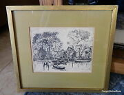 Vintage Signed Lionel Barrymore Print Etching Old Red Bank Free Shipping