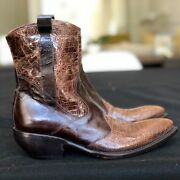 New Oreste Mecheri Brown Leather Ankle Boots With Lizard Inserts Size Ita 36
