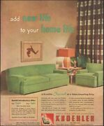 Vintage Ad For Kroehler Furniture`retro Green Couch Lamp Chair  120118