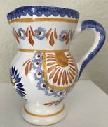 """Henriot Quimper French Pottery Creamer Pitcher Corbeille Rose France 5"""" Tall Exc"""