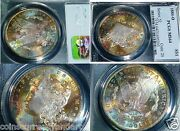 1884-o Pcgs Ms Morgan Dollar Monster Rainbow Toning -both Sides