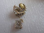 Old 10k Solid Gold Alpha Gamma Rho Fraternity Pin W/seed Pearls And Diamond