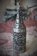Exceptional Antique Pershian Ghajar Silver Bottle Decanter With Original Glass