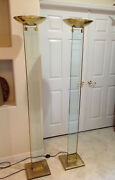 Pair Mid Century Architectural Skyscraperglass And Brass Torche Floor Lamps