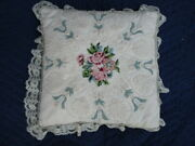 Vintage Floral Spray Crewel Embroidery Pillow Shabby Chic