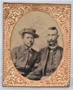 Civil War Soldiers Gem Size Tintype Black And White Possible Master Slave