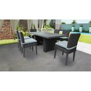 Venice Rectangular Outdoor Patio Dining Table With 6 Armless Chairs In Spa