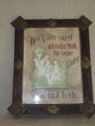Antique Tramp Arts And Crafts Wood Painting Frame Black Forest Germany Old Picture