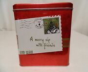 Starbucks Rare 2001 Collectible Embossed Christmas Letter Stamp Tin Hinged Lid
