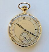 Antique Zenith Open Face Pocket Watch 18k Gold Geneve End Of 19th Century