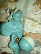 Irwin Usa 1940 Vintage Drumming Clown Figural Celluloid Baby Rattle Toy W/bell
