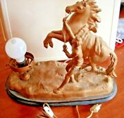 Antique Cast Bronze Over Sculpture Signed Coustou Marly Horse W/ Trainer Lamp