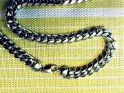 Heavy Bombe Rhodium Link Sterling Chain And Bracelets .925 Pure Silver