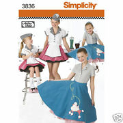 S3836 Child's Costume Poodle Skirt Diner Sizes 3-6 Simplicity Sewing Pattern