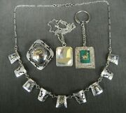 Vintage Mixed 4 Piece Lot Of Sterling And 18k Inca Inspired Peruvian Jewelry Mint