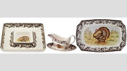 Spode Woodland Turkey Set Gravy Boat Stand Chip And Dip Plate 17.5 Platter 475