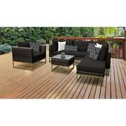Barcelona 7 Piece Outdoor Wicker Patio Furniture Set 07f In Black