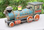 Vintage Battery Operated Old Rail Engine Train Modern Toy Litho Tin Toy Japan