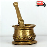 Vintage Brass Traditional Mortar And Pestle Grinder Collectible Kitchenware India