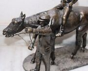 Vintage Brass Fine Lost Wax Cast Horse And Rider Miniature Carving Work Figure
