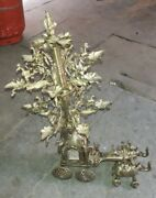 Collectible Brass Made Decorative Big Elephant Cart Traditional Folding Oil Lamp