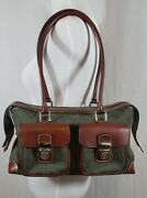 Dooney And Bourke Handbag Canvas And Leather Hunter Green W/dark Leather Accents