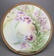 Antique Nippon Moriage Purple Floral Flowers Wall Plate Plaque 10 Maple Leaf